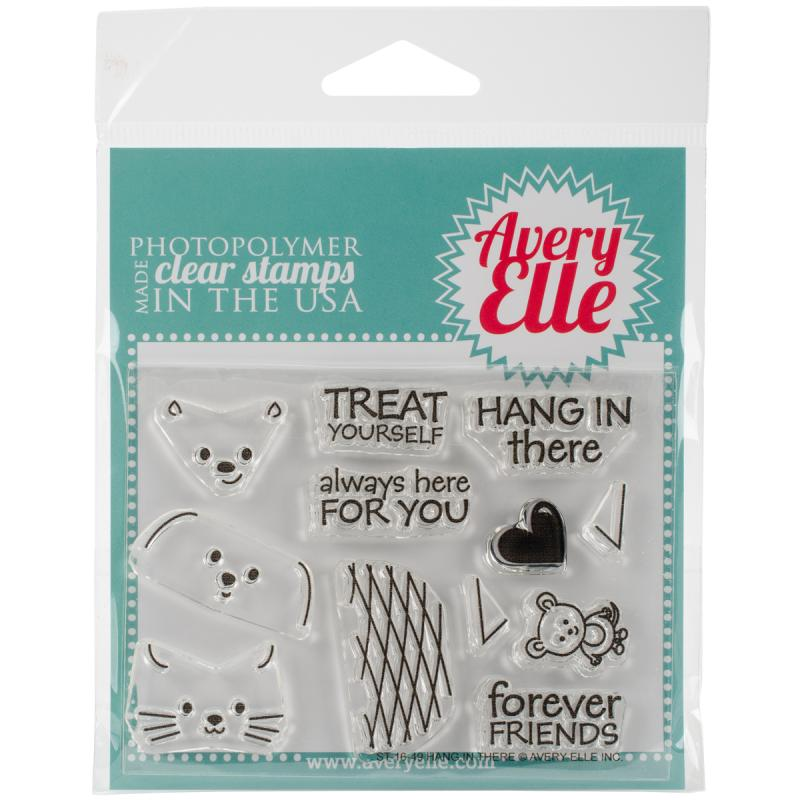 """Avery Elle Clear Stamp Set 4""""x3""""-hang In There"""