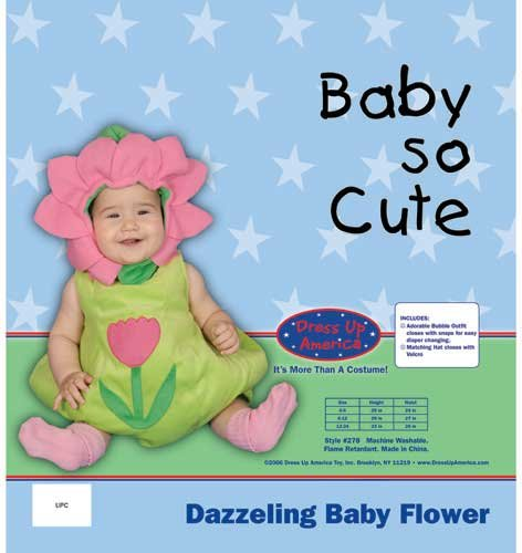 dress up america dazzling baby flower, green/pink, 6-12 months