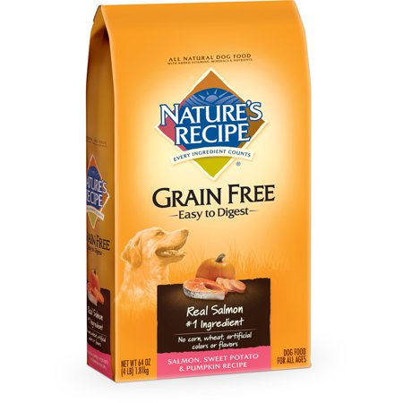 Natures Recipe Grain Free Easy To Digest Salmon  Sweet Potato   Pumpkin Recipe Dry Dog Food  4 Lb