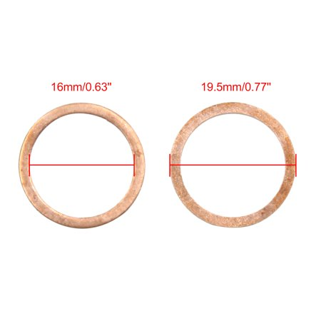 Copper Crush Washers Seal Flat Rings Gaskets 16mm Inner Dia for Car Engine 50pcs - image 2 de 3