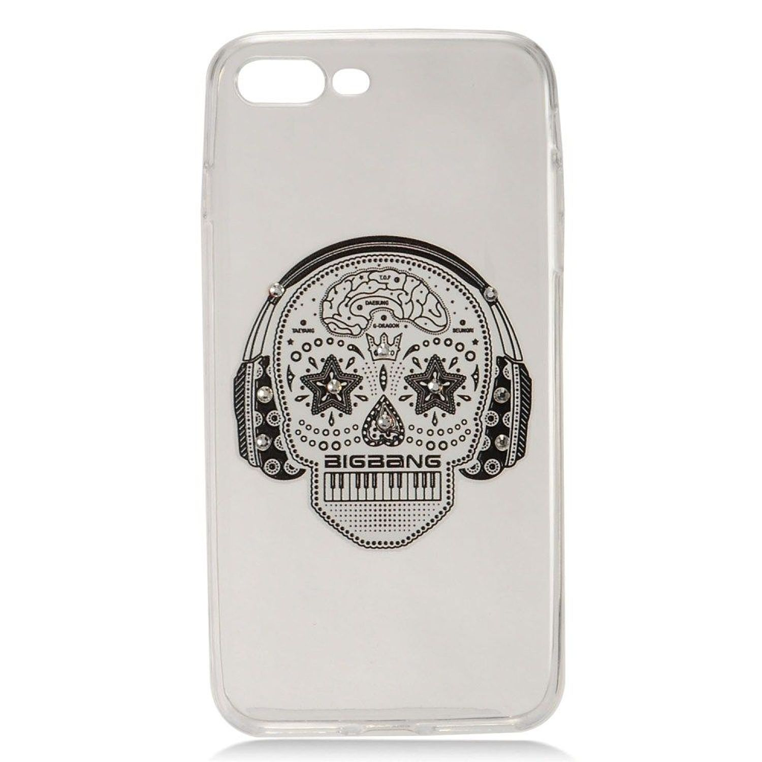 iPhone 8 Plus case, iPhone 7 Plus case, by Insten Skull Hard Snap-in Case Cover With Diamond For Apple iPhone 8 Plus / iPhone 7 Plus, White
