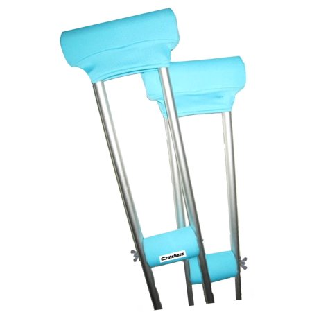 Crutcheze Turquoise Crutch Pad Set - Underarm & Hand Grip Covers with Comfortable Padding - Crutch Accessories Made In USA (2 Armpit, 2 Hand Cushion) - Crutch (Best Way To Pad Crutches)