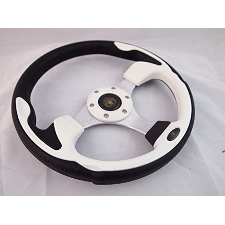 New World Motoring CLUB CAR PRECEDENT White steering wheel golf cart With Adapter 3 (Golf Cart Steering Wheel)