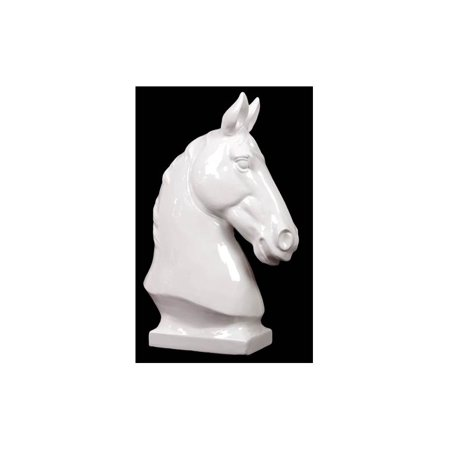 Horse Bust on a Platform in Gloss White