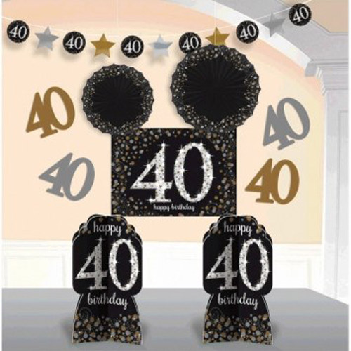 Over the Hill 'Sparkling Celebration' 40th Birthday Room Decorating Kit (10pc)