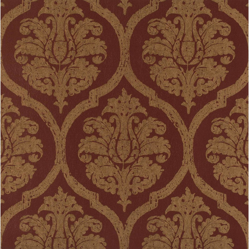 Weathered Finishes Leather Damask Wallpaper