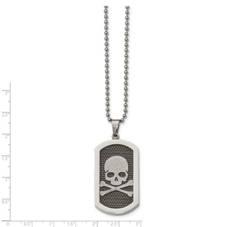 Stainless Steel Polished and Brushed Laser Cut Skull & Bones Necklace 24in - image 3 de 4