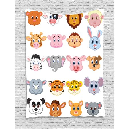 Baby Safari Wall Hanging (Cartoon Tapestry, Kids Decoration Baby Animals Lions Pigs Cows Farm Safari Baby Nursery Room Image, Wall Hanging for Bedroom Living Room Dorm Decor, 40W X 60L Inches, Multicolor, by Ambesonne)