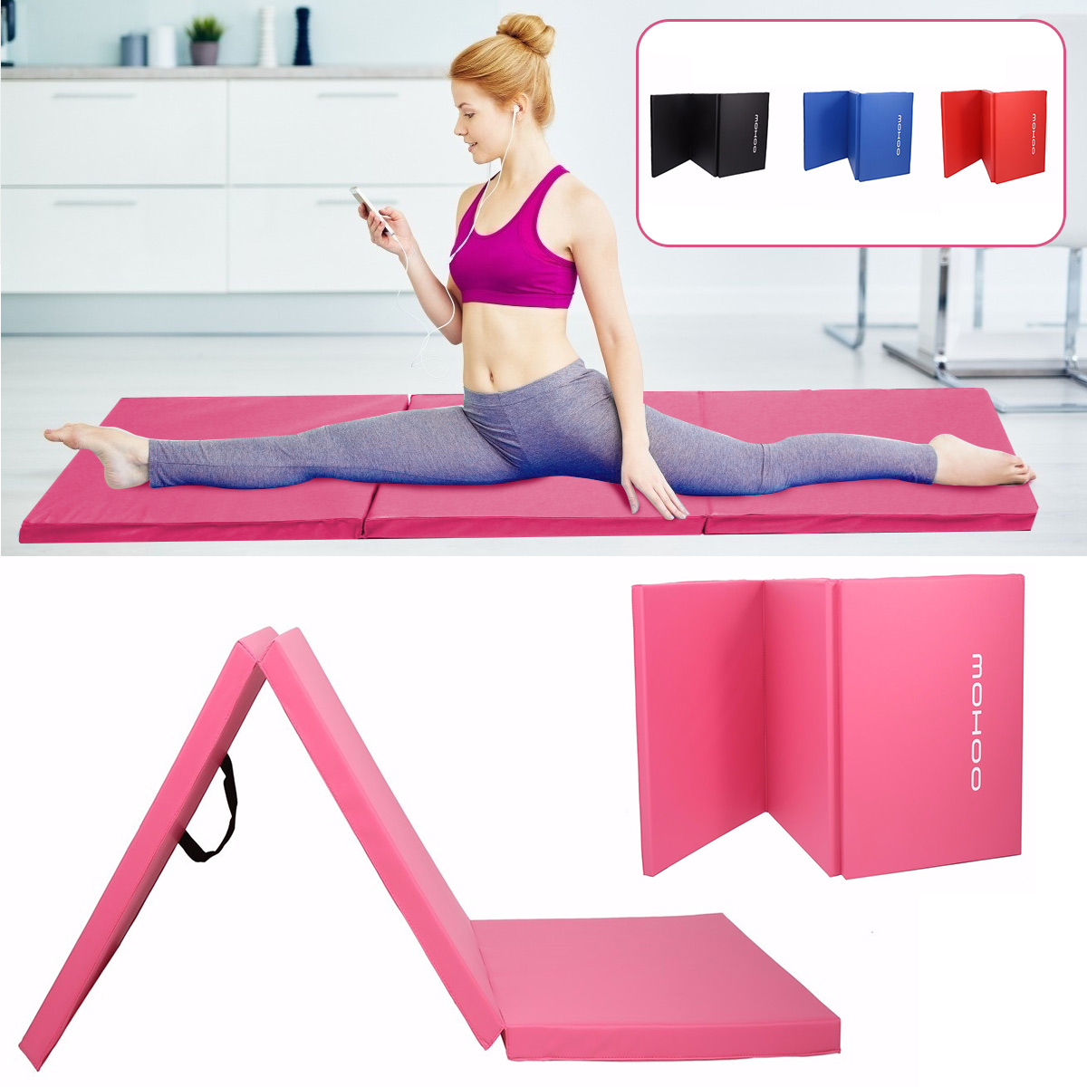 Dampproof Folding Yoga Mat Portable Gymnastics Gym Exercise Dancing Seat-up For Camping
