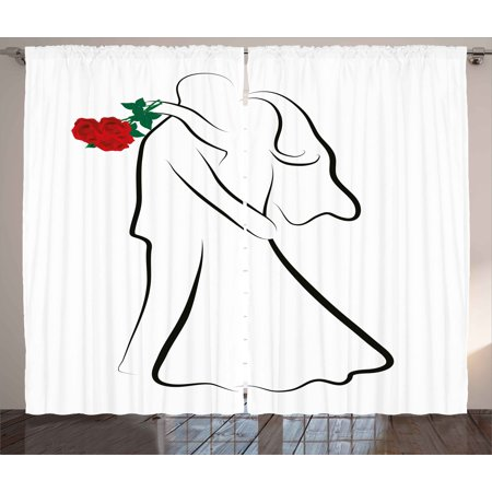 Wedding Decorations Curtains 2 Panels Set, Classical Simple Silhouette of Wedding Couple In Love Red Roses, Window Drapes for Living Room Bedroom, 108W X 90L Inches, Black White Red, by Ambesonne - Simple Wedding Decorations