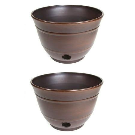 Liberty Garden Banded High Density Resin Hose Holder Pot with Drainage (2 Pack) High Density Resin