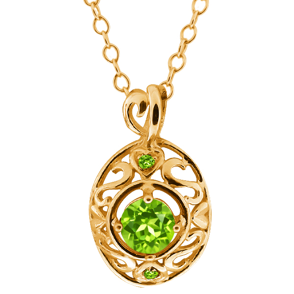 0.61 Ct Round Green Peridot and Simulated Peridot 14k Yellow Gold Pendant