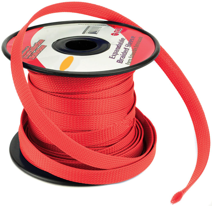 """Audiopipe ISBR19M100RD Installation Solution Expandable Braided Sleeve Red 3/4"""""""