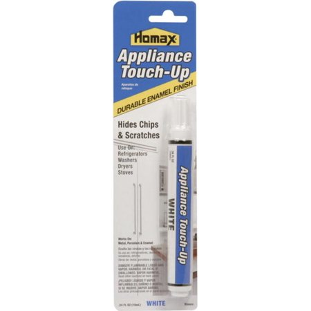 Homax 5553 Appliance Touch-Up Pen, Felt Tip, 1 oz, White, Liquid Homax Touch-Up Pen, Appliance, Felt Tip, Dry to Touch: 15 min, Liquid, White, Redwood, 1 oz Capacity, Solvent Coverage, 73 deg F Flash Point, 4.23 lb/gl VOC, 1.02 Specific Gravity, Applicable Materials: Enameled Surfaces, Metal and Porcelain, Resists: Heat