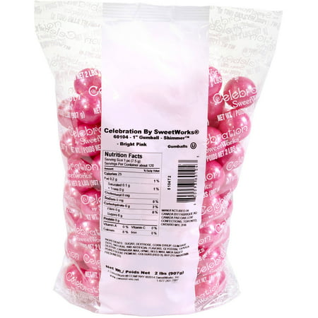 Celebration by SweetWorks Bright Pink Shimmer Gumballs, 2 lbs - Mini Gumballs By Color
