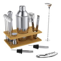 Expert Cocktail Shaker Home Bar Set - 14 Piece Stainless Steel Bar Tools Kit with Shaking Tins, Flat Bottle Opener, Double Bar Jigger, Hawthorne Strainer, Shot Glasses, Bar Spoon