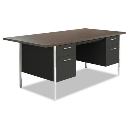 Alera Double Pedestal Steel Desk, Metal Desk, 72w x 36d x 29-1/2h, Walnut/Black Alera Double Pedestal Steel Desk