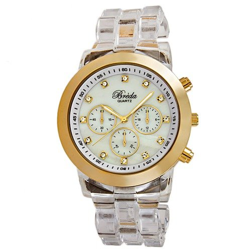 Breda Women's Brooke Oversized Mother of Pearl Watch in Clear / Gold
