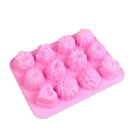 12 Grid Rose Flower Heart Shape Cookie Biscuit Chocolate Dessert Mold Sugar Candies Homemade DIY Craft Mould - Diy Dessert Table