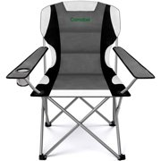 Folding Camping Chairs Outdoor Lawn Chair Padded Sports Chair Lightweight Fold up Camp Chairs High Weight Capacity Bag Chairs for Heavy Duty Beach Hiking Fishing Spectator with Cup Holder