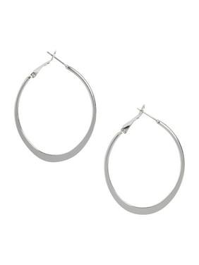Oblong Shaped Hoop Earrings