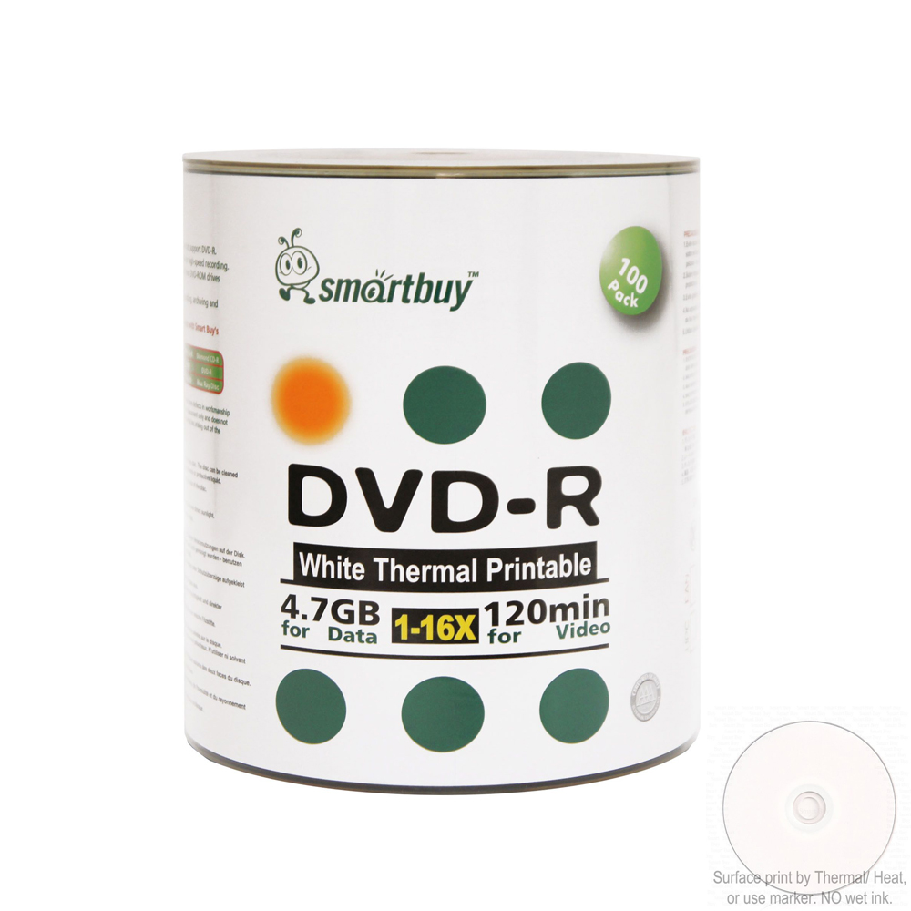 100 Pack Smartbuy 16X DVD-R 4.7GB 120Min White Thermal Hub Printable Data Blank Media Recordable Disc