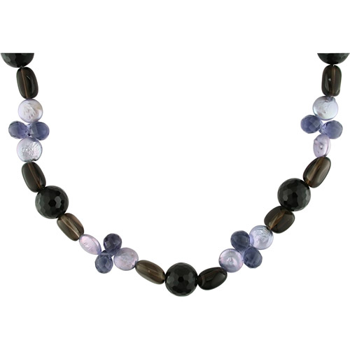 10-11mm Purple Cultured Freshwater Coin Pearl, Black Agate, Amethyst and Smoky Quartz Necklace, 52""