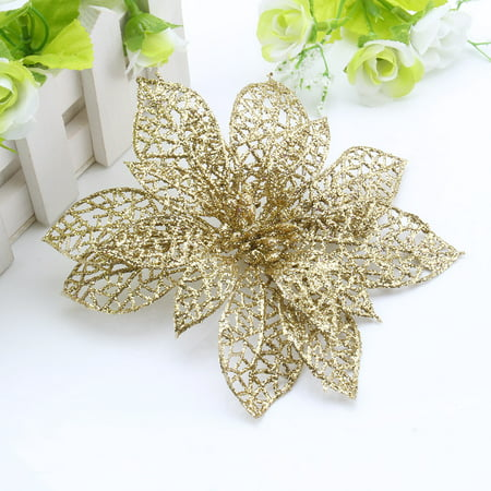 Silver Photo Ornament (10pcs Christmas Hollow Flower Xmas Tree Ornaments Wedding Party Home Decoration)