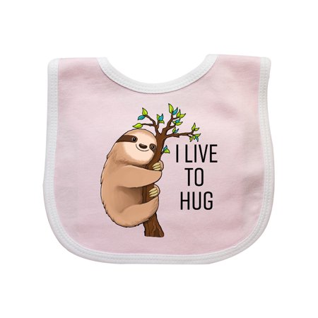 I Live to Hug- cute sloth on a branch Baby Bib](Baby Hogs)