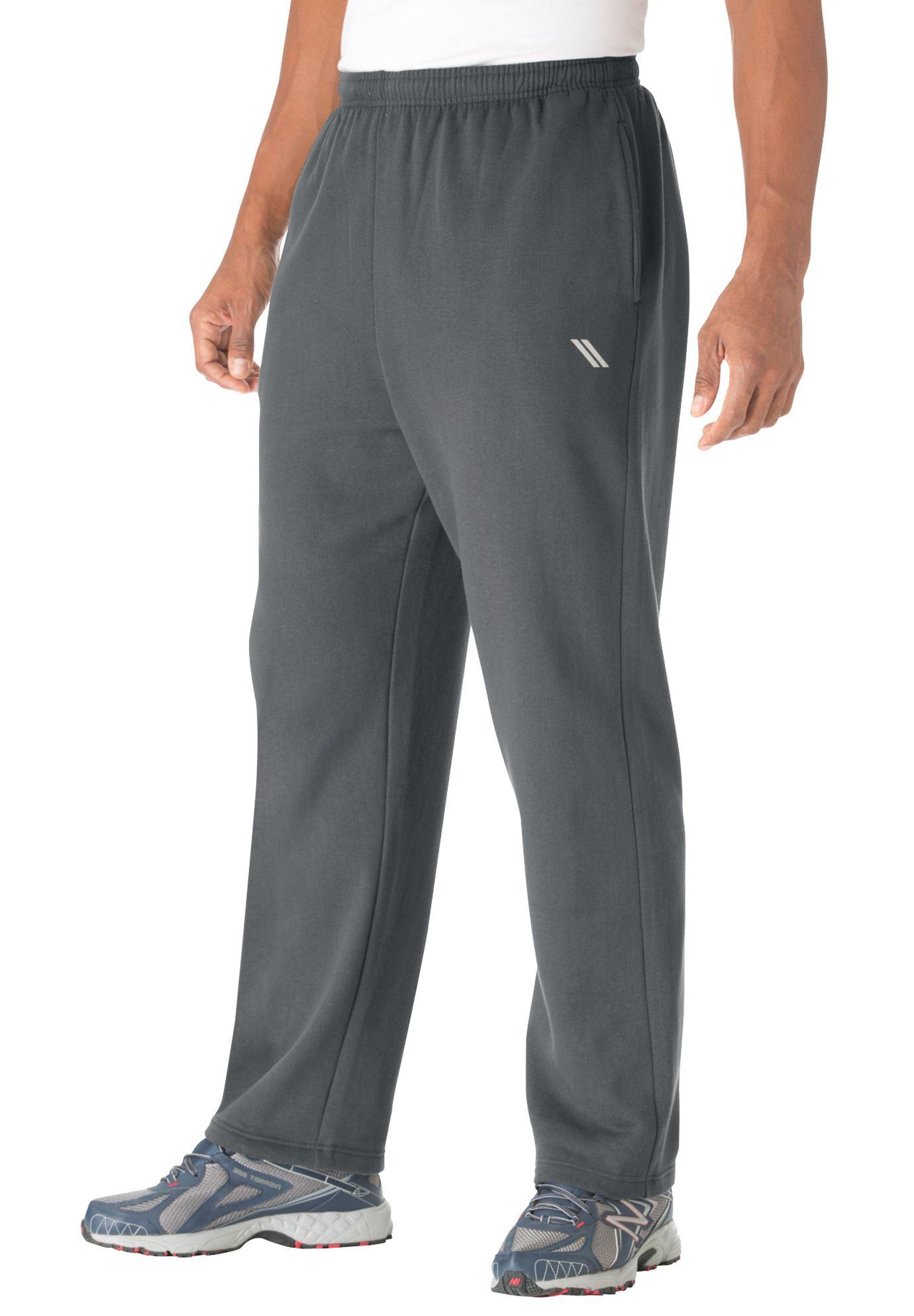 Men's Big & Tall Wicking Fleece Open Bottom Pants By Ks Sport