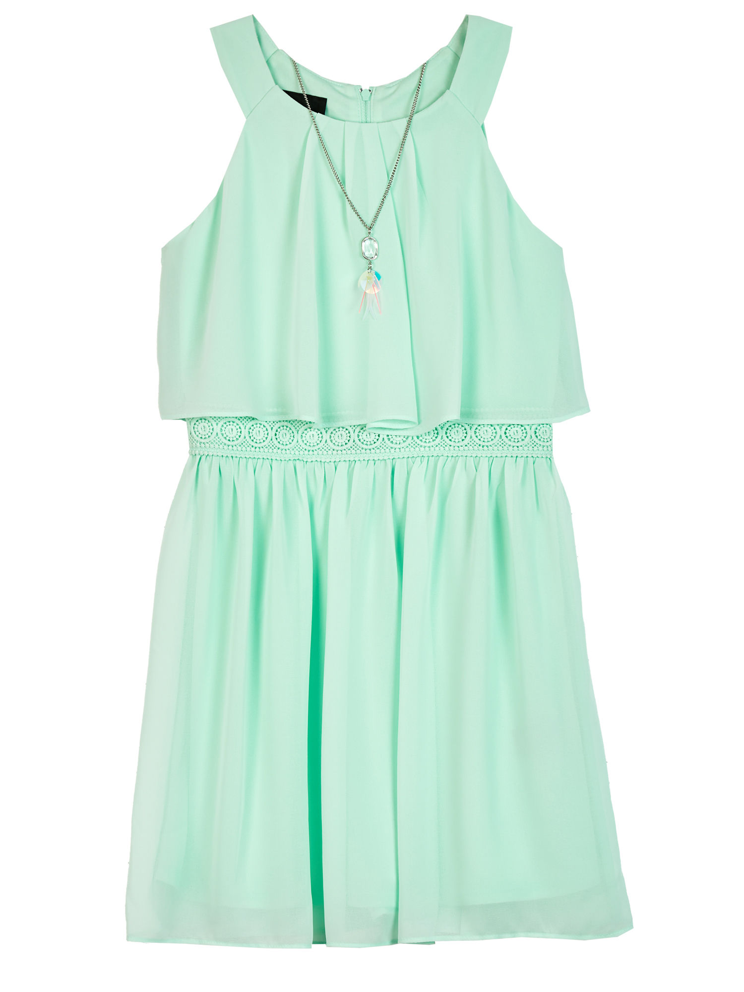 Pleated Popover Dress with Necklace (Big Girls)