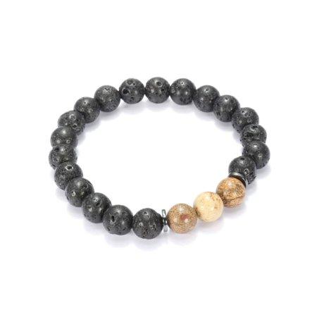Unisex 8mm Beaded Bracelet Lava Rock Stone Black Gallstone Charm Bangle Jasper Yoga Beaded Bracelet Gift (Yoga Charms)