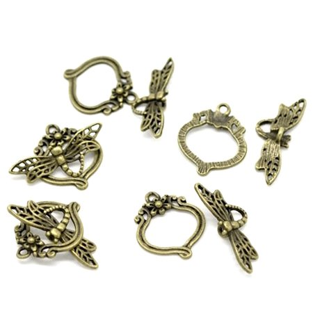 30 Antique Brass Dragonfly Toggle Clasps 29x11mm 22x19mm Sold Per 30 (Fancy Round Toggle Clasp)