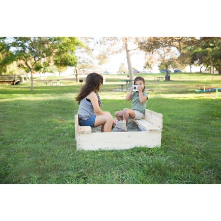 Outward Play Strongbox Convertible Square Wood Sandbox with Two Built-In Bench Seats ()