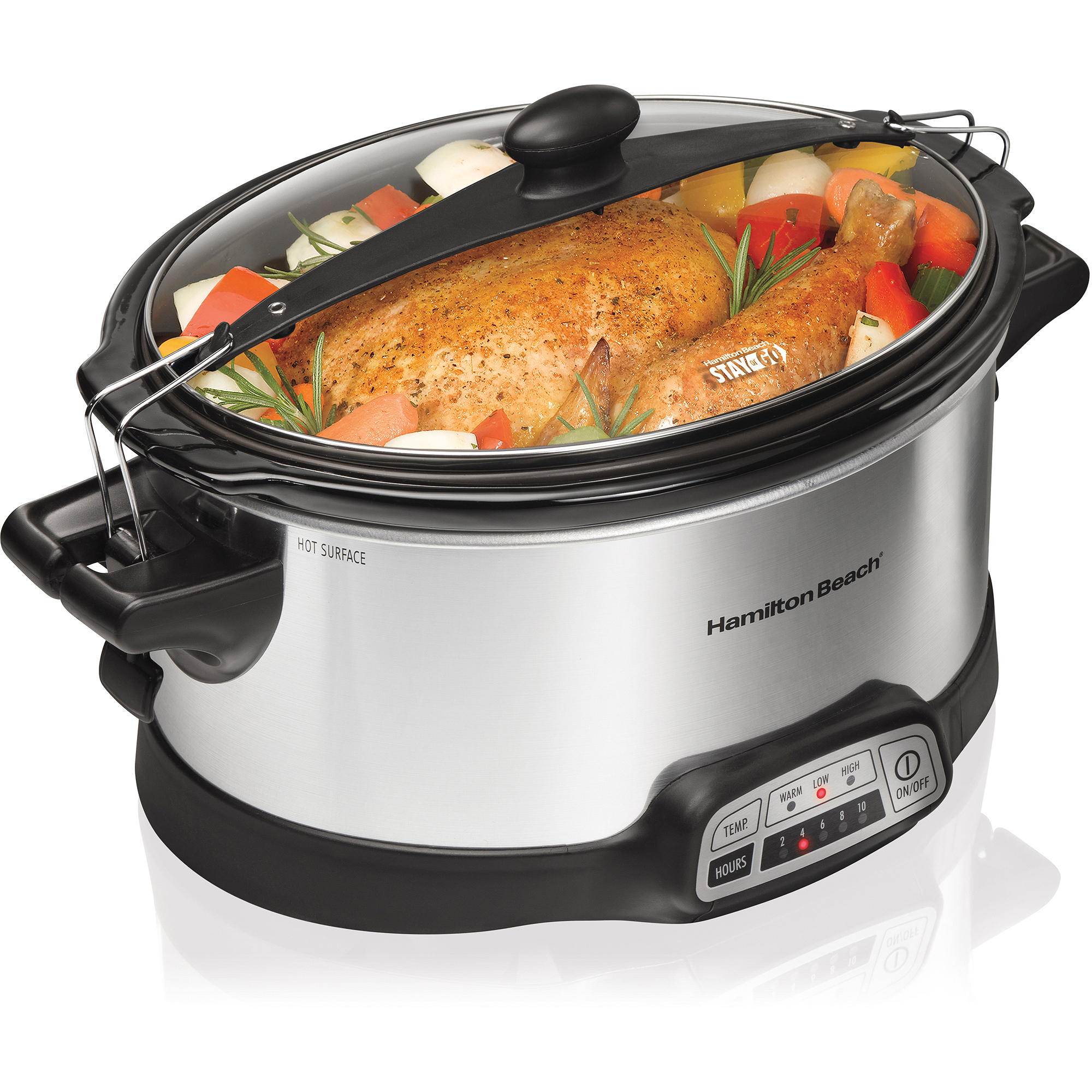 Hamilton Beach Programmable Stay or Go 6 Quart Slow Cooker with 2 Clips | Model# 33466
