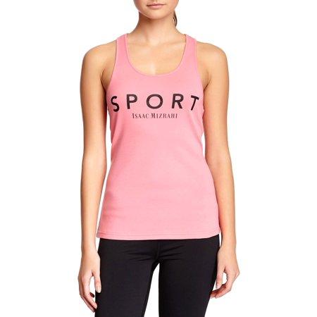 Isaac Mizrahi Women's Bold Rib Basic Logo Sleeveless Tank