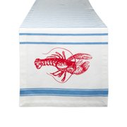 "72"" Red and Blue Scorpion Printed Striped Table Runner"