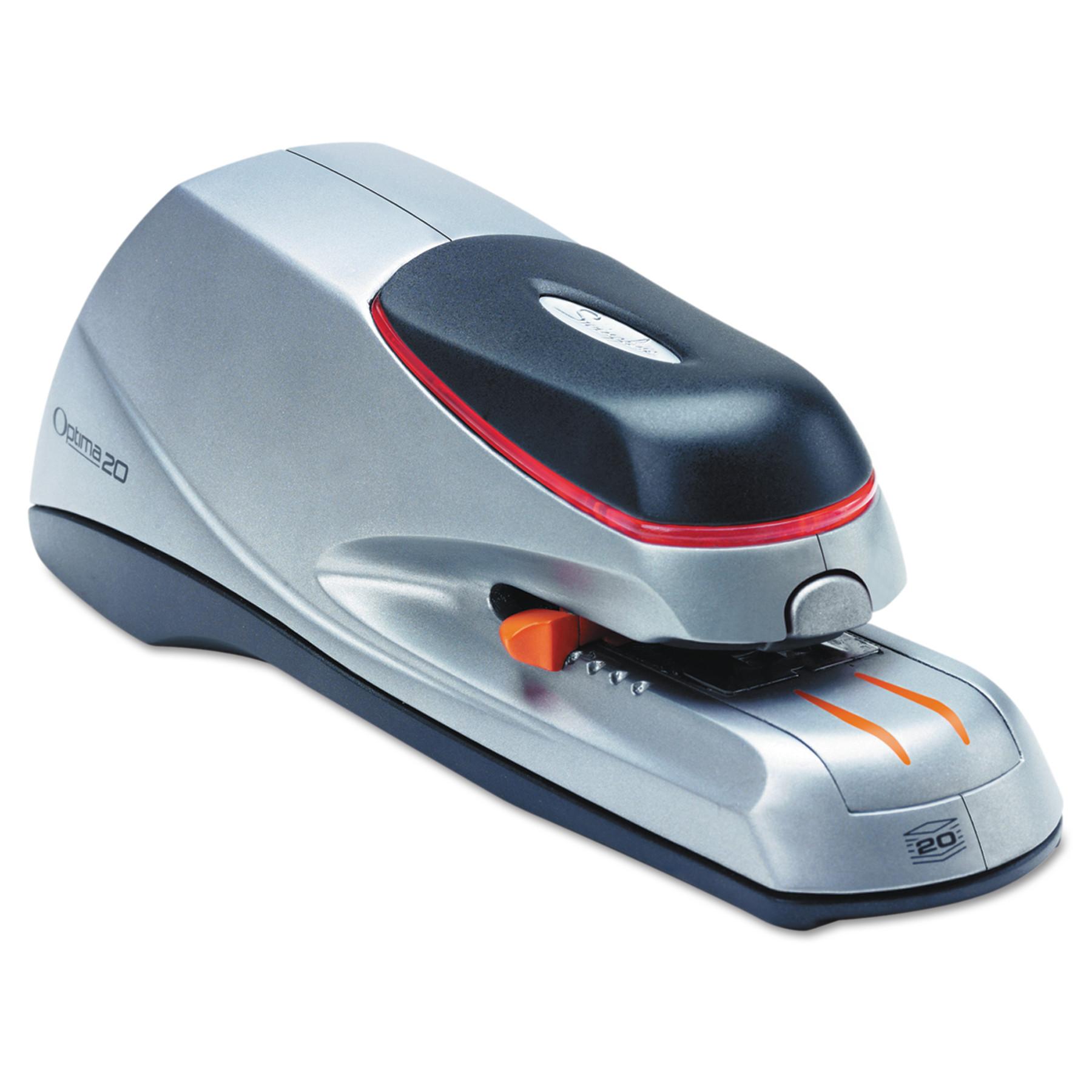 Swingline Optima 20 Electric Stapler, Desktop, Auto/Manual, 20 Sheets, Silver -SWI48208