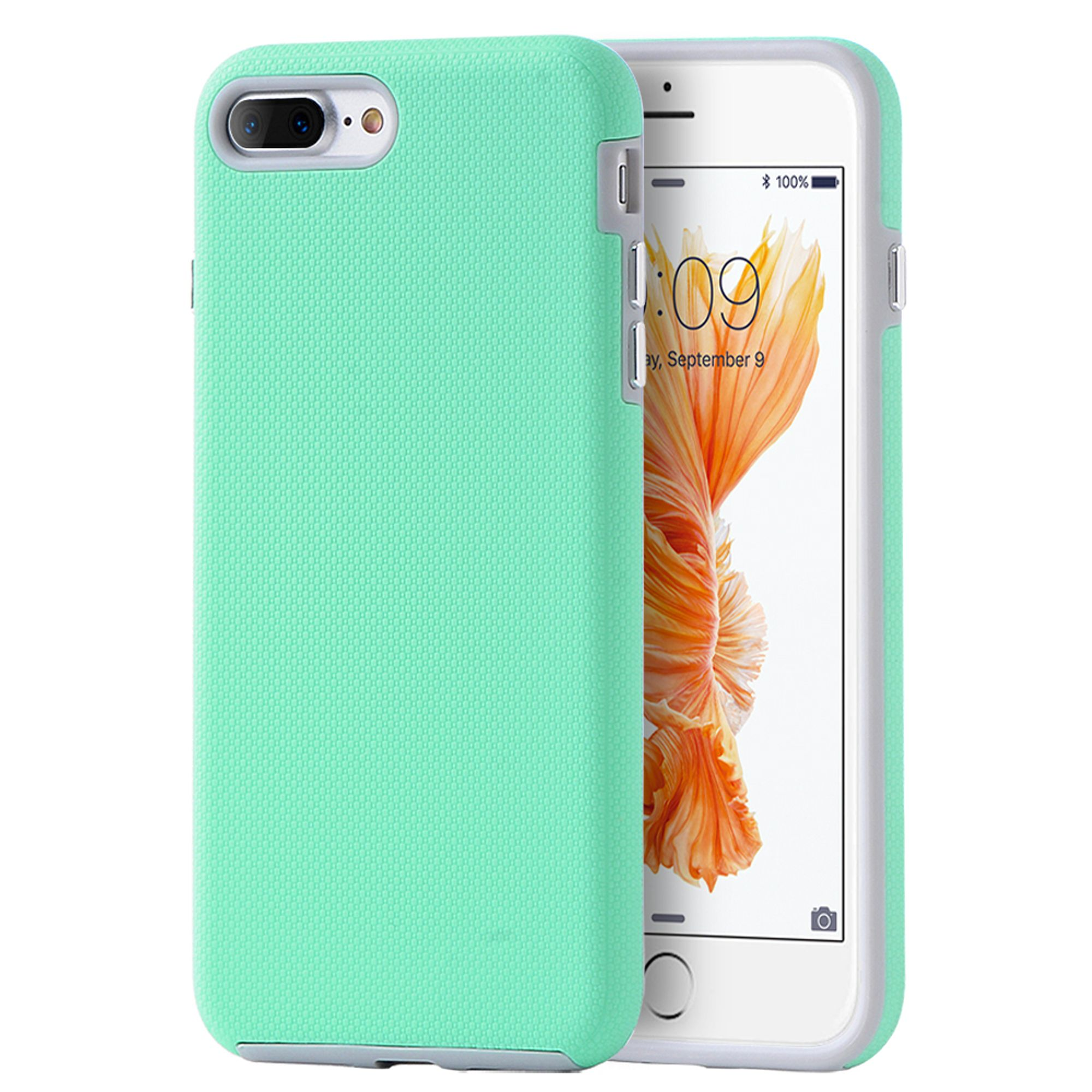 Insten Hard Dual Layer TPU Case for Apple iPhone 8 Plus / iPhone 7 Plus - Teal/Gray
