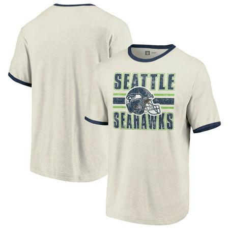 Seattle Seahawks Fanatics Branded Team Stripe Helmet T-Shirt - Cream/College Navy Seattle Seahawks Grilling