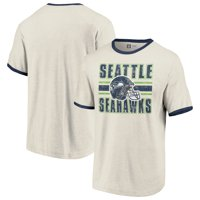 Seattle Seahawks Fanatics Branded Team Stripe Helmet T-Shirt - Cream/College Navy