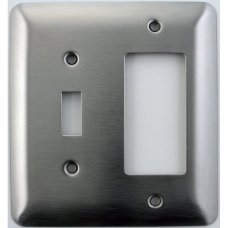 Mulberry Princess Style Satin Stainless Steel 2 Gang Switch Plate - 1 Toggle Light Switch Opening 1 GFI/Rocker Opening 1 Toggle / 1 Rocker