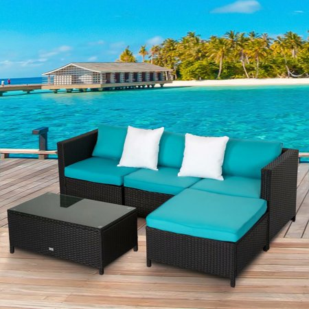 Kinbor 5pcs Outdoor Patio Furniture Sectional Pe Wicker Rattan Sofa Set Blue ()