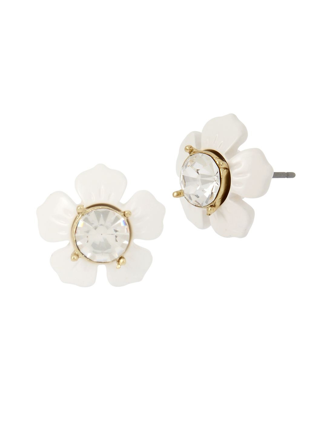 Vintage Floral White Daisy Crystal Stud Earrings
