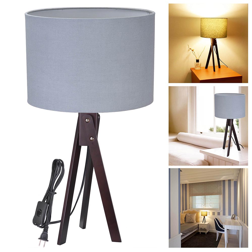 Yescom Wooden Tripod Table Lighting Cotton Fabric Lampshade w/ Black Walnut Color Oak Wood Stand for Room Cafe