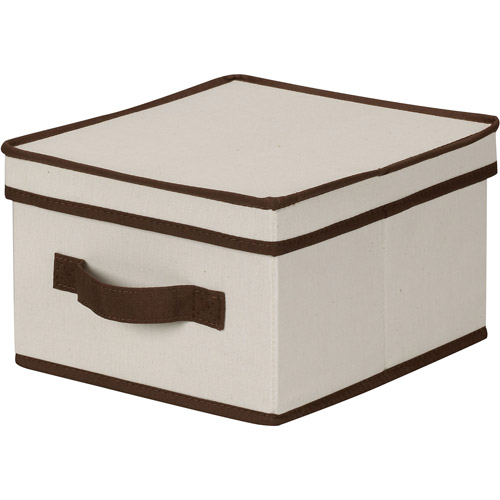 Household Essentials Medium Canvas Storage Box with Brown Trim
