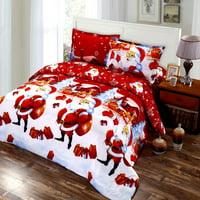 4Pcs Micro Fiber Home Cartoon Bedding Decor Set Bedclothes Duvet Cover Quilt Sheets Pillowcase Comforter Sheet Christmas