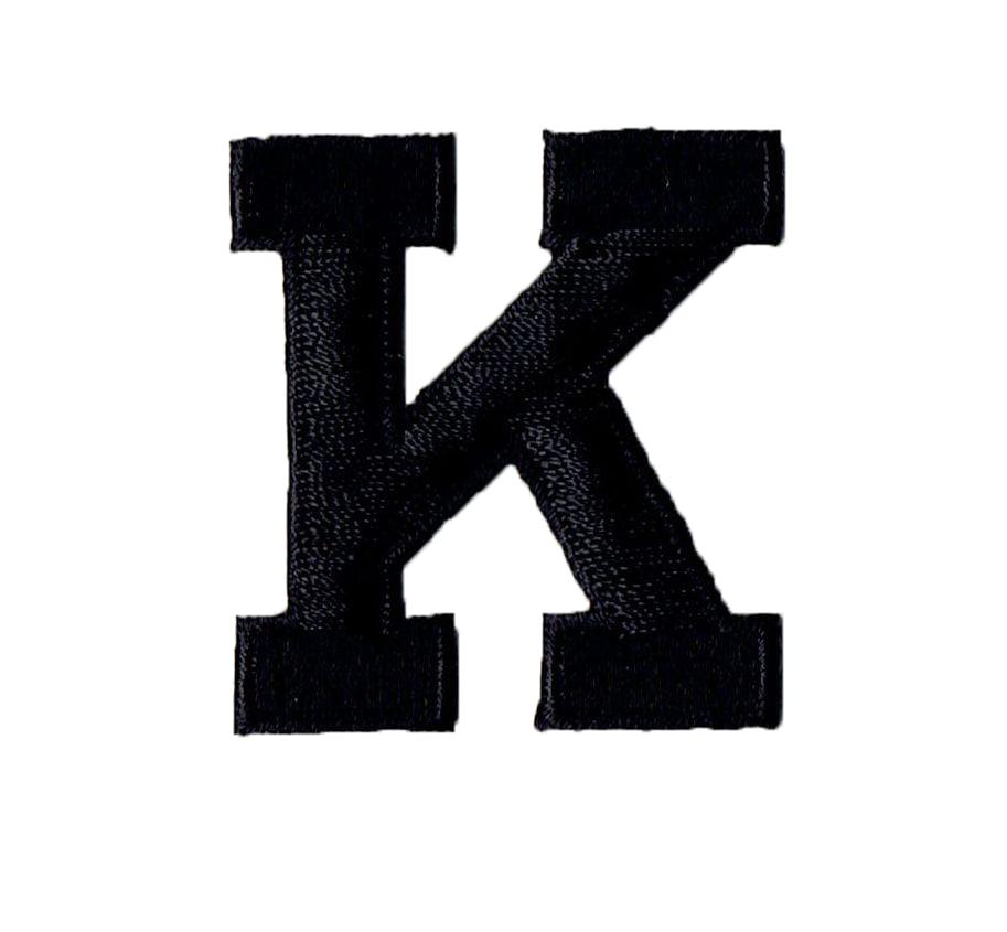 Alphabet Letter K Color Black 2 Block Style Iron On