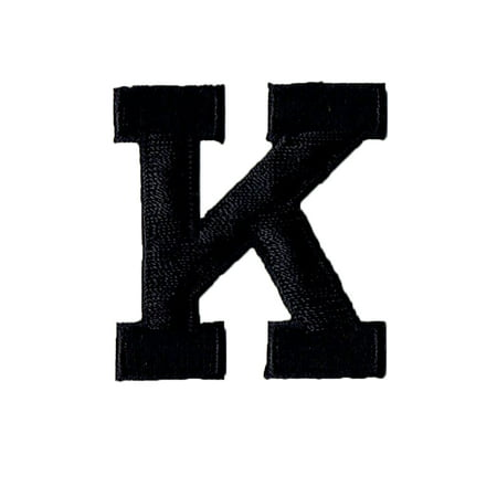 alphabet letter k color black 2 block style iron on embroidered