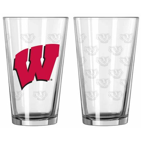 - Wisconsin Badgers Satin Etch Pint Glass Set